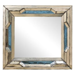 Italian Venetian-Style Mirror w/ an Antiqued Mirror & Blue Accent Surround
