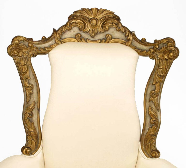 19th Century Italian Venetian Style Painted and Carved High Back Bergère For Sale