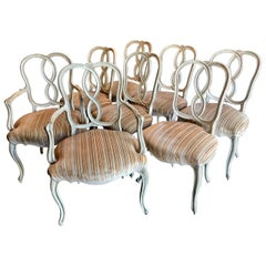 Italian Venetian Style Ribbon Back Dining Chairs, Set of 8