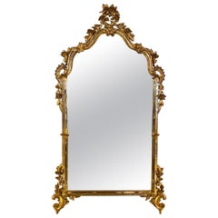 Italian Venetian Style Wall, Console or Over the Mantle Mirror in Giltwood