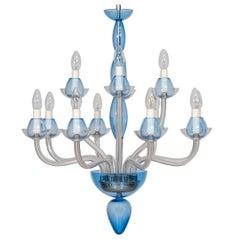 Italian Venetian,Chandelier, blown Murano Glass, Transparent & Light-Blue, 1990s