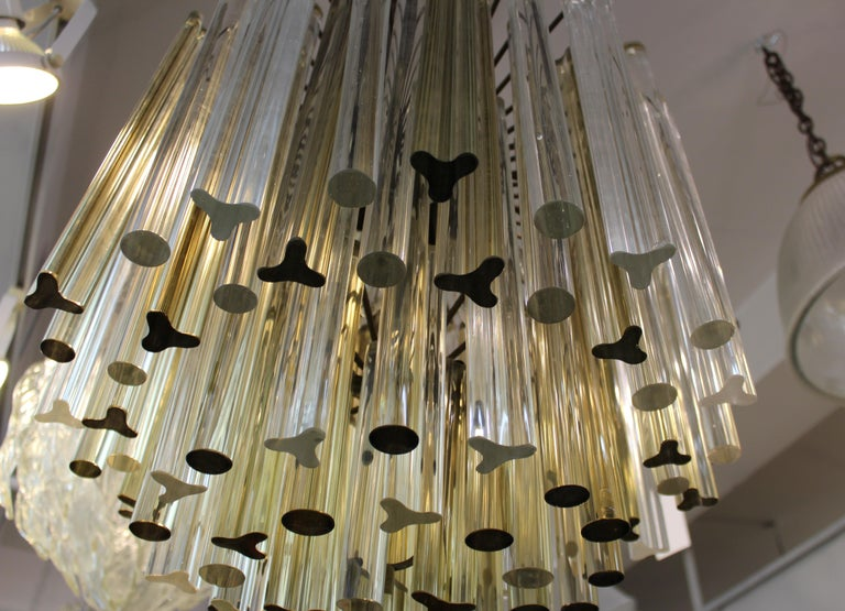 Mid-20th Century Italian Venini Style Midcentury Murano Chandelier with Cut and Round Crystals For Sale