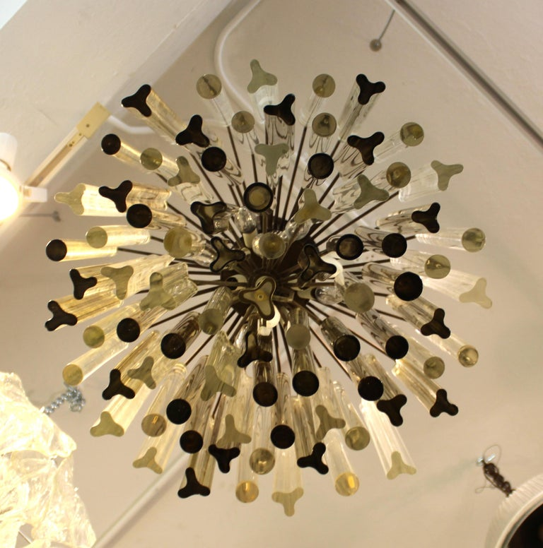 Metal Italian Venini Style Midcentury Murano Chandelier with Cut and Round Crystals For Sale