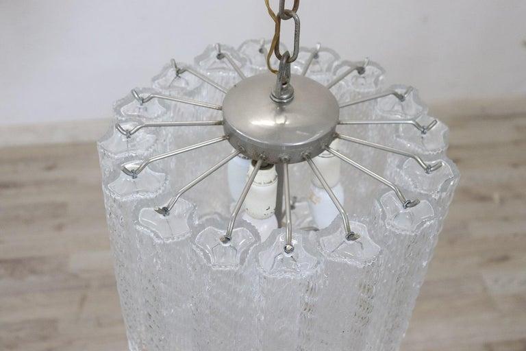 Italian Venini Murano Glass Chandelier, 1960s In Excellent Condition For Sale In Bosco Marengo, IT