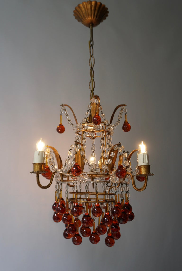 Hollywood Regency Italian Venini Style Chandelier with Murano Brown Glass Teardrops, 1950s For Sale