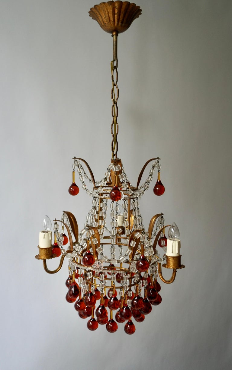 20th Century Italian Venini Style Chandelier with Murano Brown Glass Teardrops, 1950s For Sale