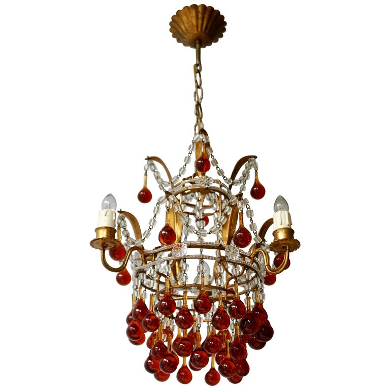 Italian Venini Style Chandelier with Murano Brown Glass Teardrops, 1950s For Sale