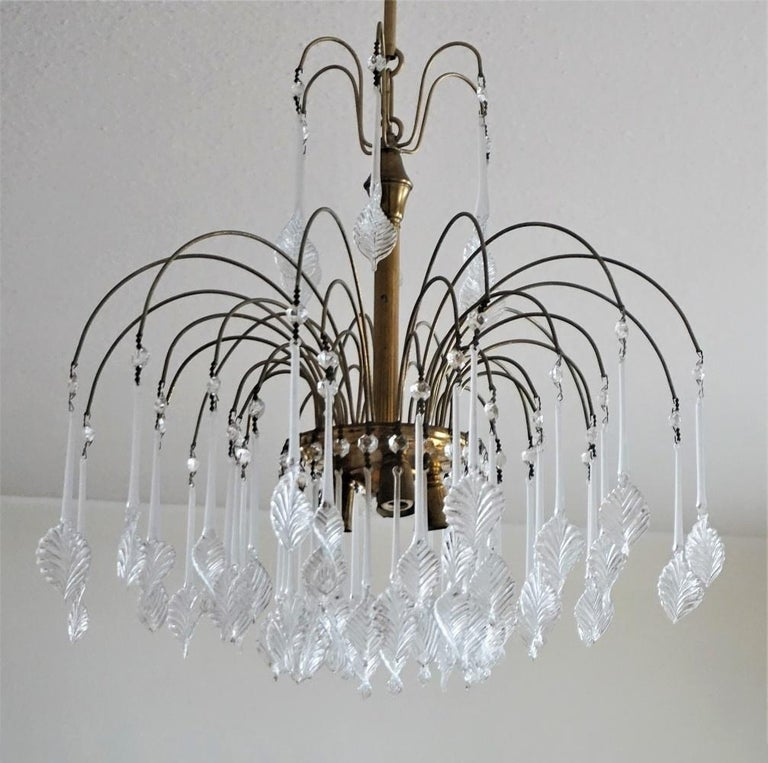 Art Deco Italian Venini Style Chandelier with Murano Glass Leaves, 1960s