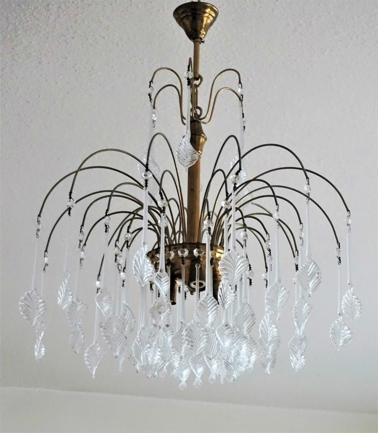 Italian Venini Style Chandelier with Murano Glass Leaves, 1960s In Good Condition In Frankfurt am Main, DE