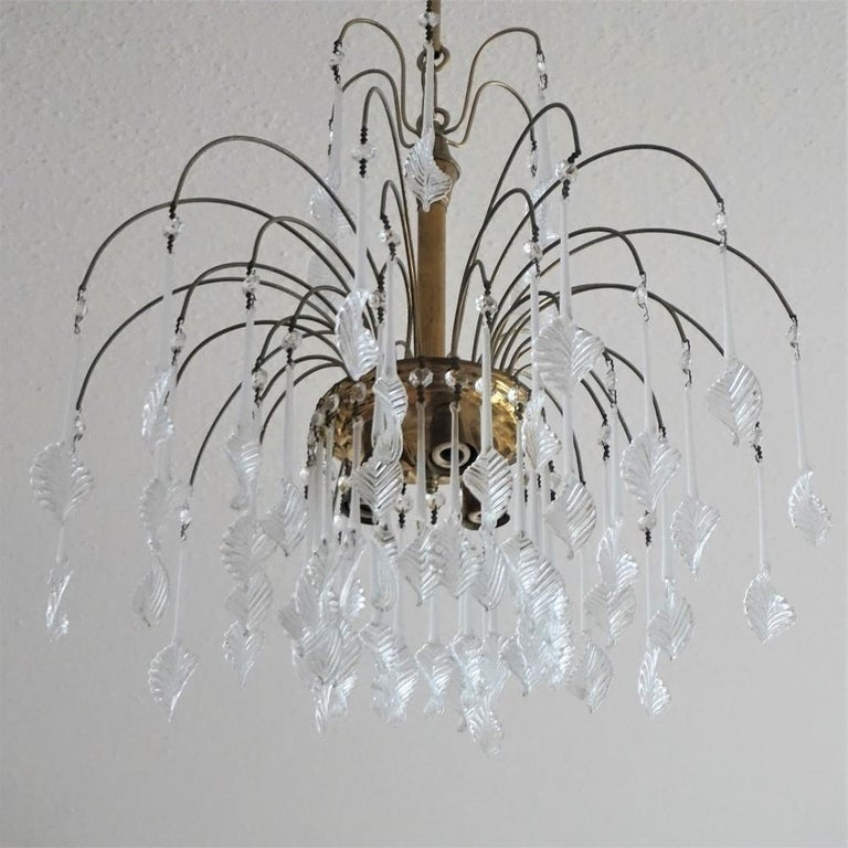 20th Century Italian Venini Style Chandelier with Murano Glass Leaves, 1960s