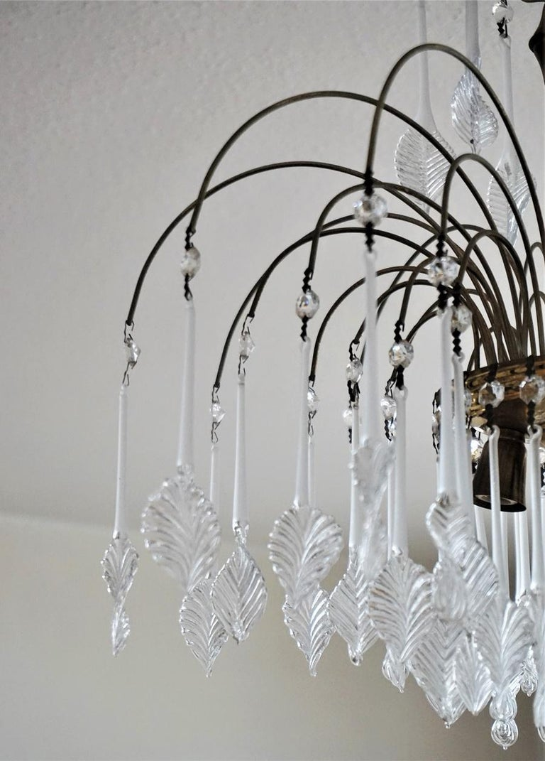 Italian Venini Style Chandelier with Murano Glass Leaves, 1960s 1