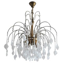 Italian Venini Style Chandelier with Murano Glass Leaves, 1960s