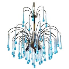 Italian Venini Style Chandelier with Murano Turquoise Glass Teardrops, 1950s