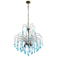 Italian Venini Style Chandelier with Murano Turquoise Glass Teardrops, 1960s