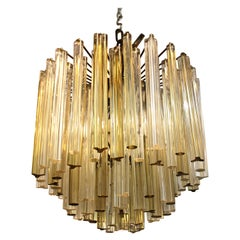 Italian Venini Style Midcentury Murano Chandelier with Cut and Round Crystals