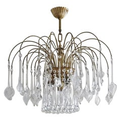 Italian Venini Style Warterfall Chandelier with Murano Glass Leaves and Drops