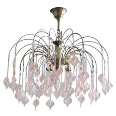 Italian Venini Style Warterfall Chandelier with Murano Pink Glass Leaves, 1960s