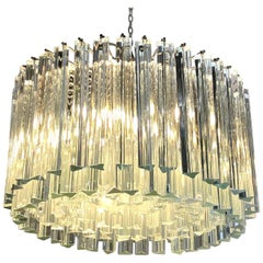 Italian Venini Transparent Glass Rounded Chandelier, 1940s