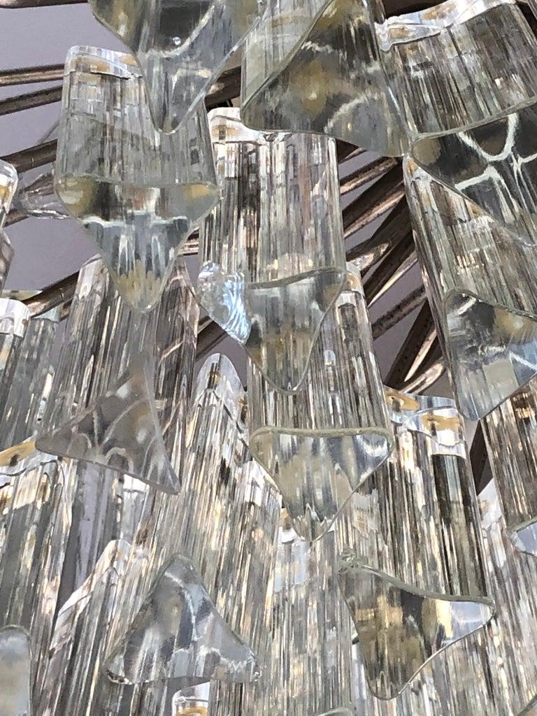 Italian Venini Triedri Glass Rounded Chandelier, 1940s For Sale 4