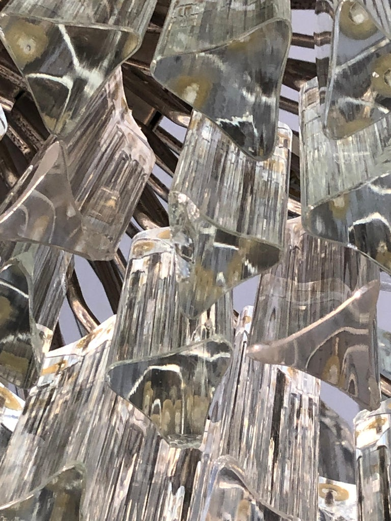 Italian Venini Triedri Glass Rounded Chandelier, 1940s For Sale 5