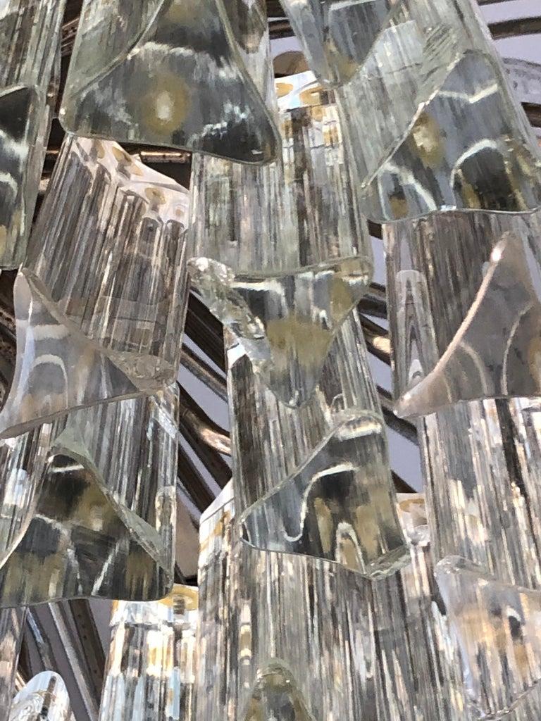 Italian Venini Triedri Glass Rounded Chandelier, 1940s For Sale 6