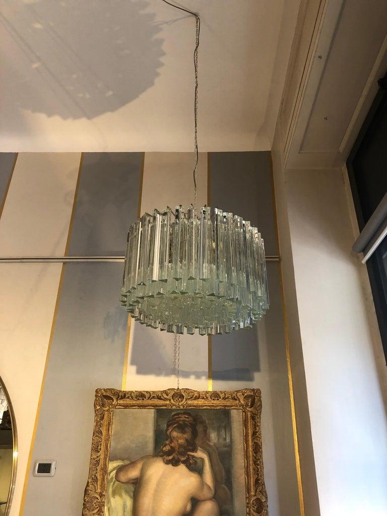 Italian Venini Triedri Glass Rounded Chandelier, 1940s For Sale 7