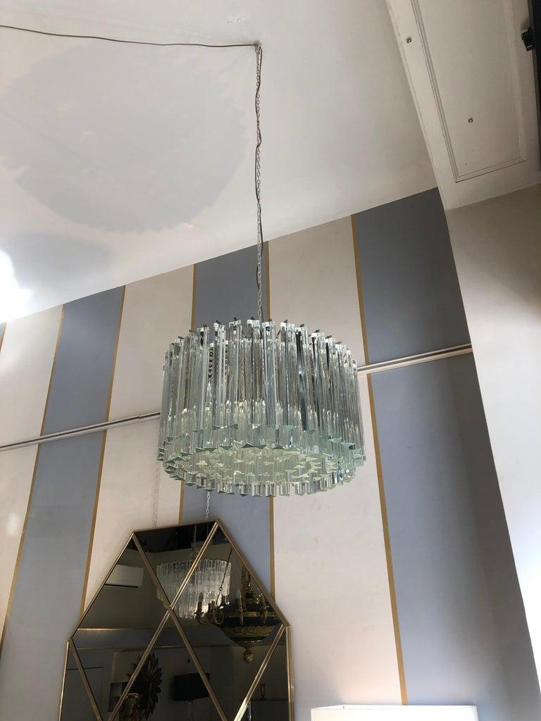 Art Deco Italian Venini Triedri Glass Rounded Chandelier, 1940s For Sale