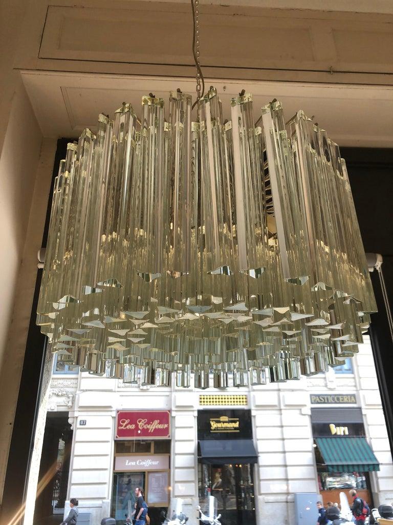 Italian Venini Triedri Glass Rounded Chandelier, 1940s In Good Condition For Sale In Milano, IT