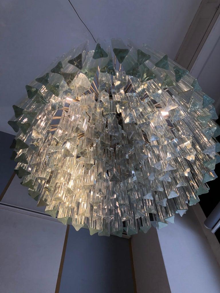 Mid-20th Century Italian Venini Triedri Glass Rounded Chandelier, 1940s For Sale