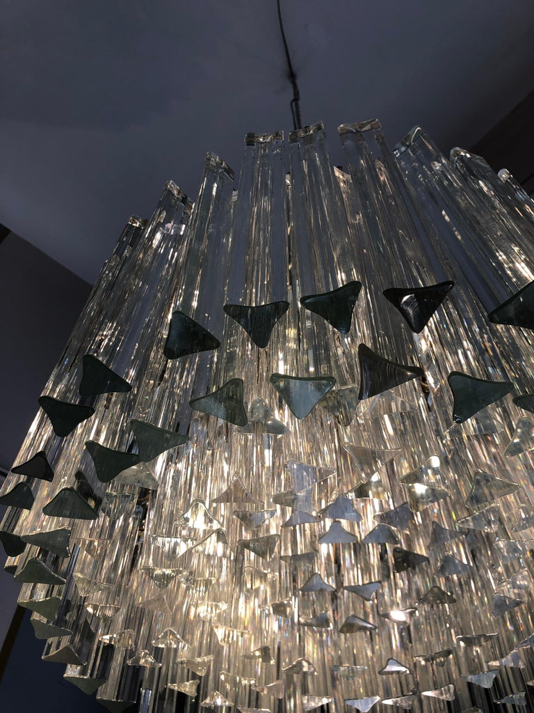 Italian Venini Triedri Glass Rounded Chandelier, 1940s For Sale 1