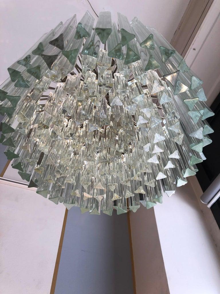Italian Venini Triedri Glass Rounded Chandelier, 1940s For Sale 2