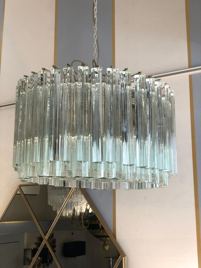 Italian Venini Triedri Glass Rounded Chandelier, 1940s For Sale 3