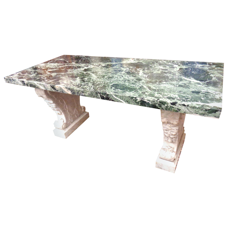 Italian Verde Green and Carrara Marble Center/Console Table, circa 1860