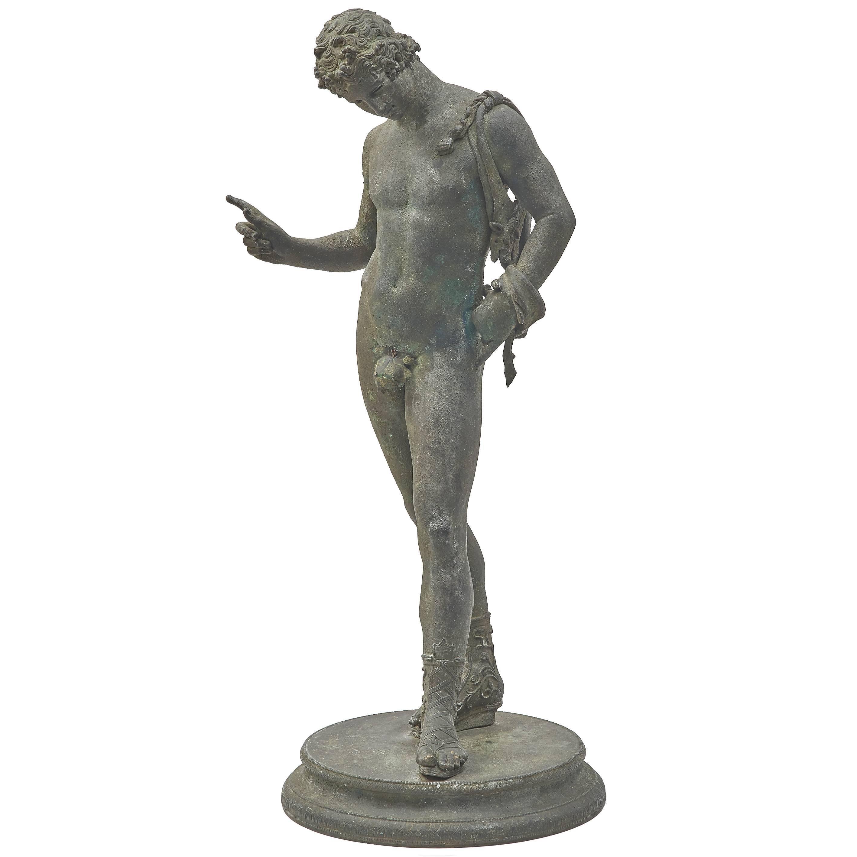 Italian Verdigris Bronze Sculpture of Narcissus, Attributed to Chiurazzi