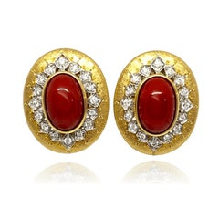 Italian Vergano Cabochon Red Coral and Diamond Omega Earrings 18KY