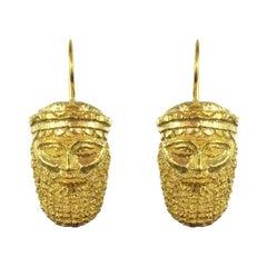 Italian Vermeil Antique Mask Drop Earrings