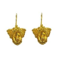 Italian Vermeil Antique Style Venetian Mask Drop Earrings