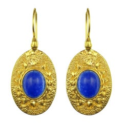 Italian Vermeil Blue Stone Drop Earrings