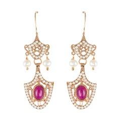 Italian Vermeil Glass Pearl Dangle Earrings