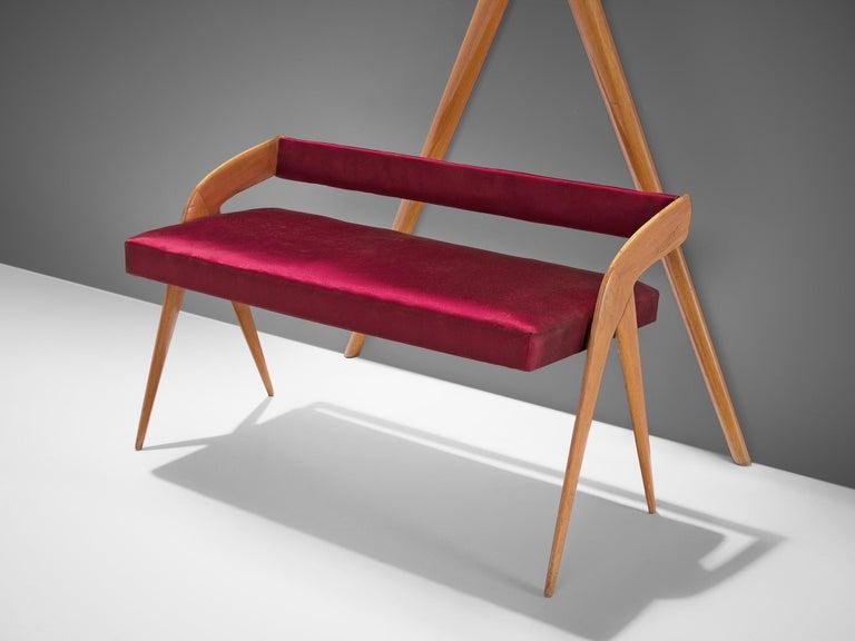 Fabric Italian Vestibule Set with Settee and Mirror