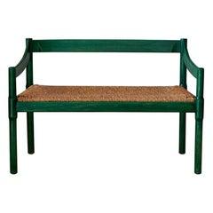 Italian Vintage 1950s Vico Magistretti Green Carimate Bench in Wicker and Wood