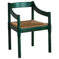 Italian Vintage 1950s Vico Magistretti Green Wood and Wicker Carimate Armchair