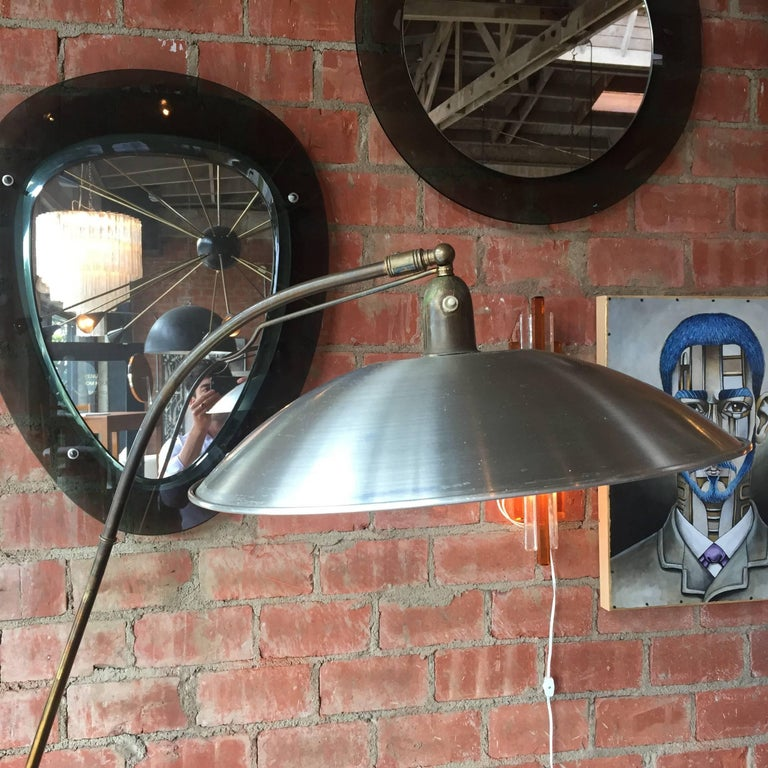 Italian Vintage Adjustable One-Arm Floor Lamp, 1950s In Good Condition For Sale In Los Angeles, CA