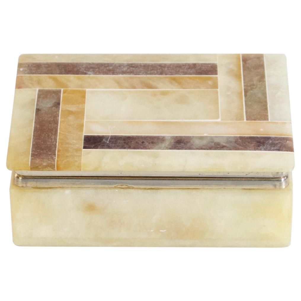 Italian Vintage Alabaster Trinket Box, circa 1970