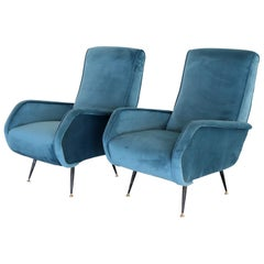 Italian Vintage Armchairs in Blue Velvet and Brass Stiletto Feet, 1950s