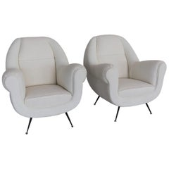 Italian Midcentury Armchairs in White Upholstery and Brass Stiletto Feet, 1960s