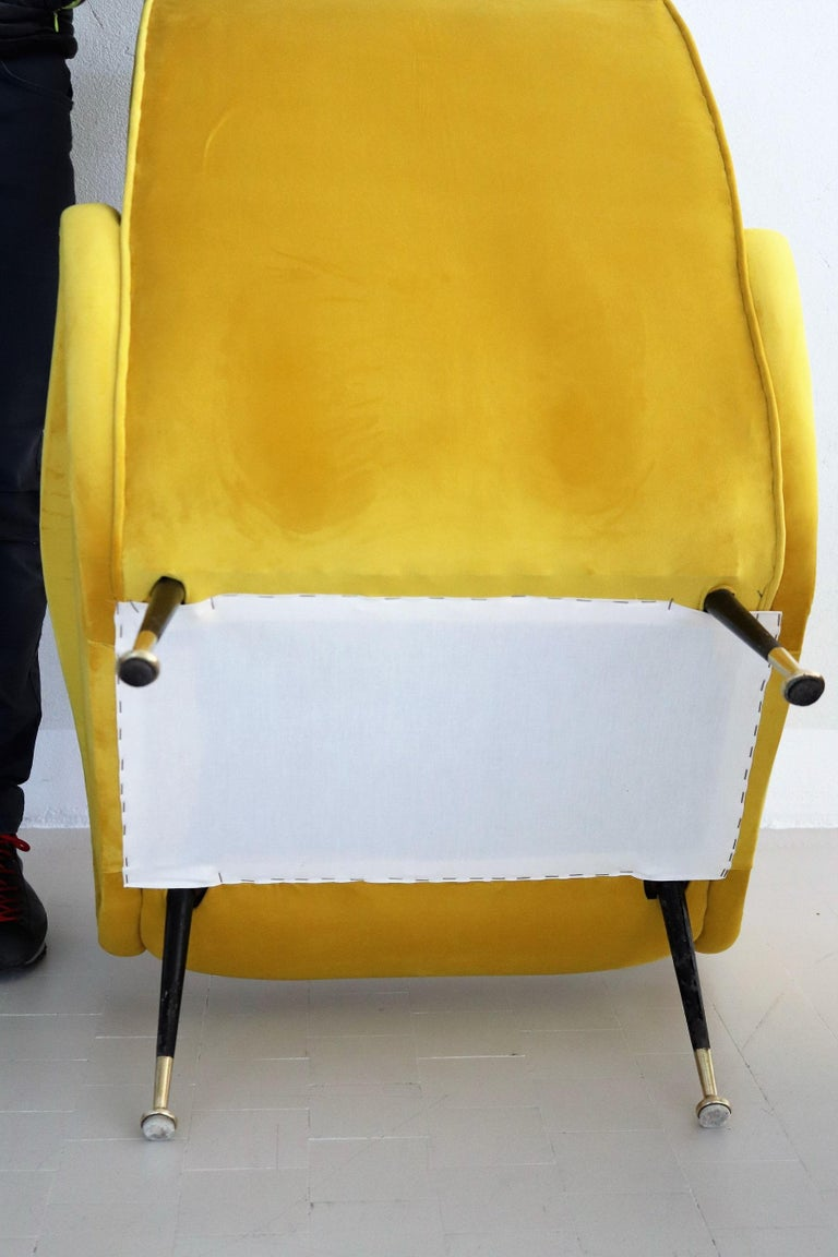 Italian Vintage Armchairs in Yellow Velvet and Brass Stiletto Feet, 1950s For Sale 7
