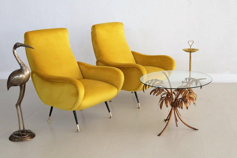 Italian Vintage Armchairs in Yellow Velvet and Brass Stiletto Feet, 1950s For Sale 10