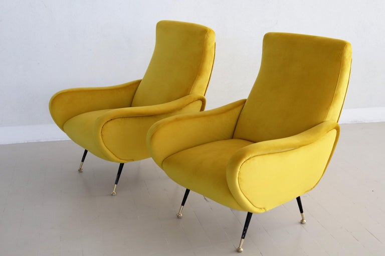 Italian Vintage Armchairs in Yellow Velvet and Brass Stiletto Feet, 1950s For Sale 12