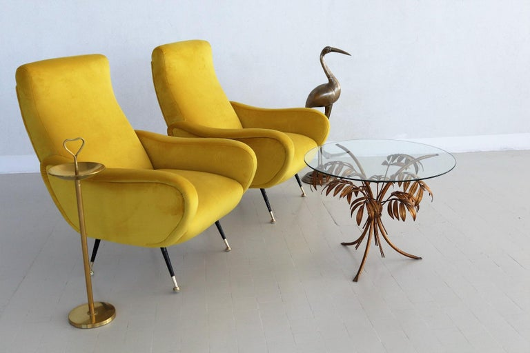 Italian Vintage Armchairs in Yellow Velvet and Brass Stiletto Feet, 1950s For Sale 13